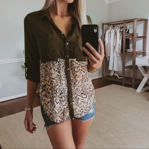 Free People Army Green Leopard Button Down Top